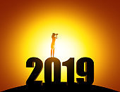 Silhouette Woman looking through telescope standing on top of 2019 number. Concept business vector illustration, Searching, Strategy, New Years.