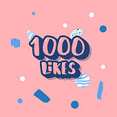 1000 likes. Vector social media template.