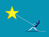 Pulling the star. Concept business vector, Lassoing, Working, Achievement.