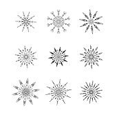 Set of decorative snowflakes. Vector illustration.