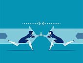 Competition. Business people and conflict in office. Concept business vector illustration. Flat design style.