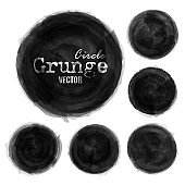 Set grunge ink black color watercolor painting circle background . Decorative elements vector