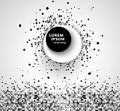Abstract business background with 3D circular halftone design circle of black dots on a circle with a big black 3D round button and shadow.