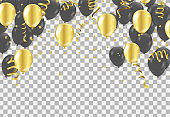 Gold and black balloons, vector illustration. Confetti and ribbons, Celebration background template