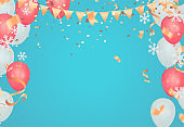 Party balloons illustration. Confetti and ribbons flag ribbons, Merry Christmas Party xmas Poster and Happy New Year