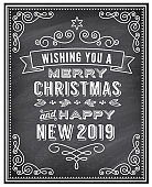 Vector Christmas and Happy New 2019 Year Chalkboard Greeting Card