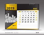 Desk calendar for may 2019 template, Printable calendar, Planner design template, Week starts on Sunday, Stationery design, vector illustration