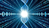 Genetic engineering and digital technology concept.