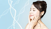 Woman beauty and gene therapy concept.