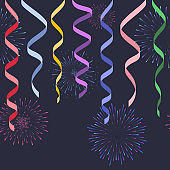 Seamless decorative serpentines with fireworks on dark background, vector colorful ribbons and salute for footer and banner
