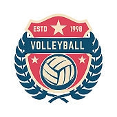 Emblem template with volleyball ball. Design element for label, sign.