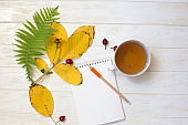 Autumn flatlay on  white wooden backdrop with a cup of tea and fallen dry yellow,  leaves, flowers. Free space for text.