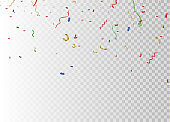 Golden confetti, isolated on cellular background. Festive vector illustration Tiny confetti with ribbon on white background. Festive event and party. Vector yellow