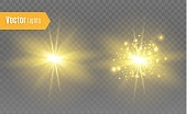 White glowing light explodes on a transparent background. Vector illustration of light decoration effect with ray. Bright Star. Transparent shining sun, bright flash. The center of a bright flash
