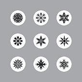 Set of vector snowflakes. Snowflake texture for decoration. Geometric snow symbol - Illustration