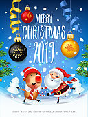 Santa Claus with the symbol of 2019 Pigs on skates rushes for holiday on the field with Christmas trees.