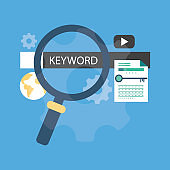 Keyword research line icon, seo and development - Illustration
