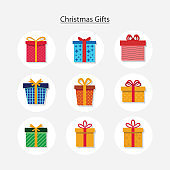 Colorful wrapped gift boxes, presents. Flat style vector illustration.