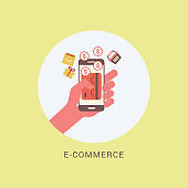 Flat online shopping and e-commerce - Illustration