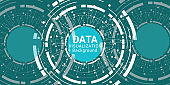 Complex data graphic visualization. Futuristic business analytics. Big data analys visualization with lines, dots and arrow elements. - Illustration