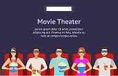 Cartoon People Watching Movie in Cinema Background Card. Vector