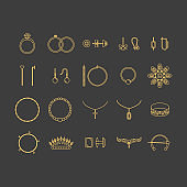 Jewelry Gold Thin Line Icon Set. Vector
