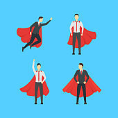 Cartoon Businessman Superhero Characters Icon Set. Vector