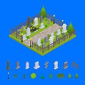 Cemetery and Elements Concept 3d Isometric View. Vector