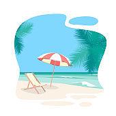 Cartoon Beach Travel Resort Background Card. Vector
