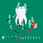 Dental Care Concept and Elements 3d Isometric View. Vector