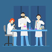 Cartoon Scientists Working at Lab Concept. Vector