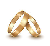 Realistic Detailed Golden Wedding Rings. Vector