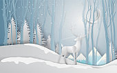 Winter season and Christmas day Deer under the view pine forest landscape with snow background. paper art and digital craft style. Vector illustration.