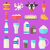 Cartoon Color Milk Products Icons Set. Vector