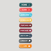 Set of multicolored buttons for websites with icons on a grey background. Website buttons design vector illustration.