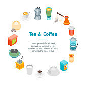 Tea and Coffee Banner Card Circle 3d Isometric View. Vector
