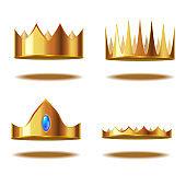 Realistic Detailed 3d Golden Crown Set. Vector