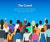 Cartoon Public People Concept Card Poster. Vector