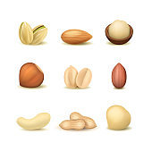 Realistic Detailed 3d Different Types Nuts Set. Vector