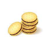 Realistic Detailed 3d Biscuits Cookies or Sandwich Biscuit. Vector
