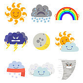 Cartoon Characters Weather Forecast Set. Vector