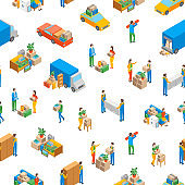 Relocation Service 3d Seamless Pattern Background Isometric View. Vector