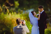 Wedding photoshoot in the summer park
