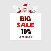Big Sale banner. Santa Claus with signboard. Cute Santa standing behind a blank sign. Vector illustration.