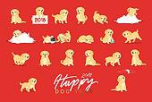 Set of cute dogs labrador and golden retriever