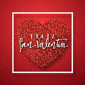 Happy Valentines Day. lettering Spanish Inscription handmade.