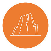 Mountain with ledges icon in thin line style