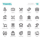 Travel - Pixel Perfect line icons with captions