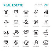 Real Estate - Pixel Perfect line icons with captions