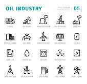 Oil Industry - Pixel Perfect line icons with captions